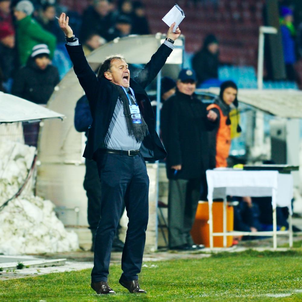 GALATI, ROMANIA - DECEMBER 13: Unknown football coach in the soccer game Otelul Galati vs. Poli Timisoara, score 2-1, on December 13, 2014 in Galati, Romania