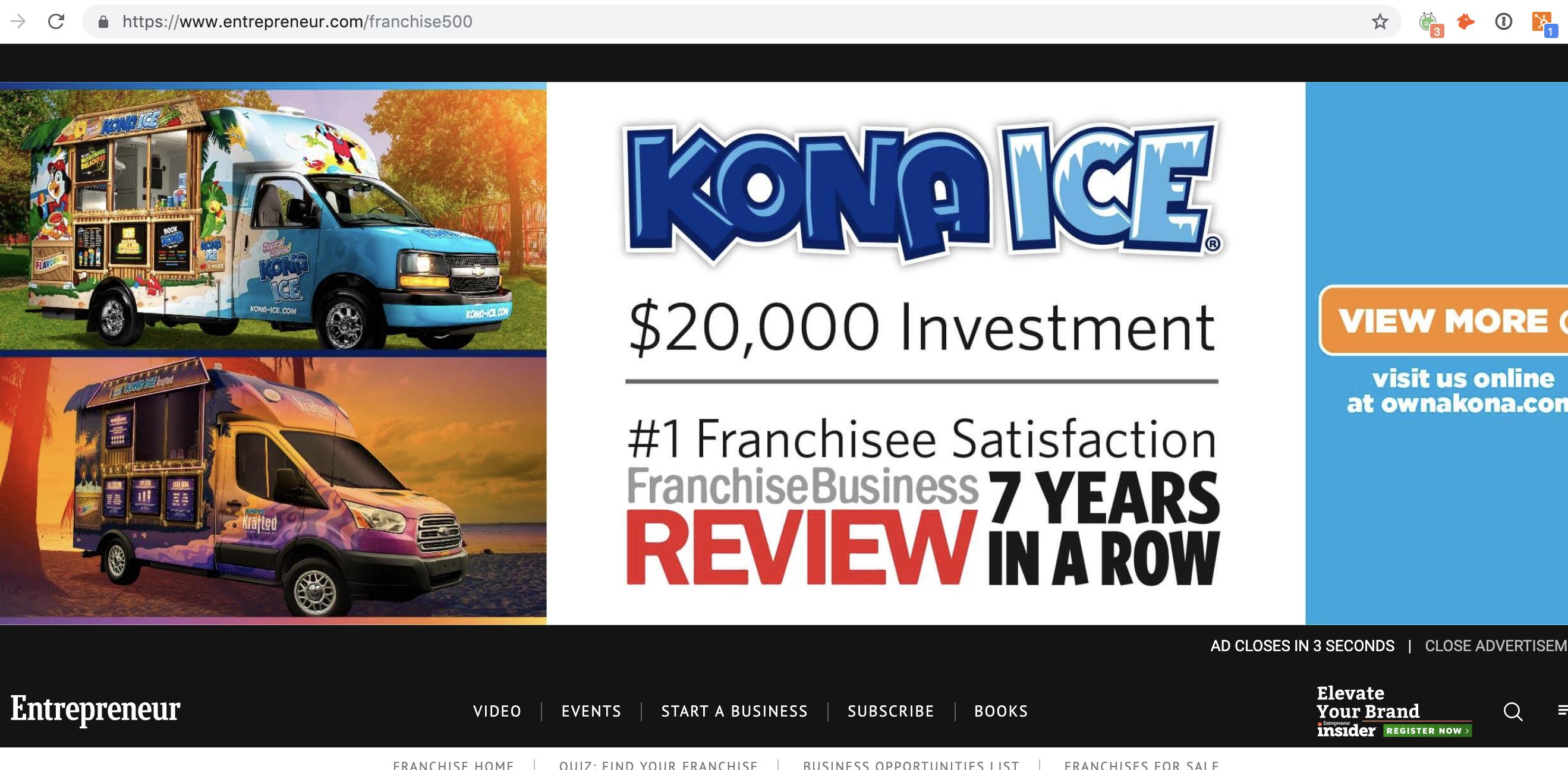 Kona Ice Banner Ad