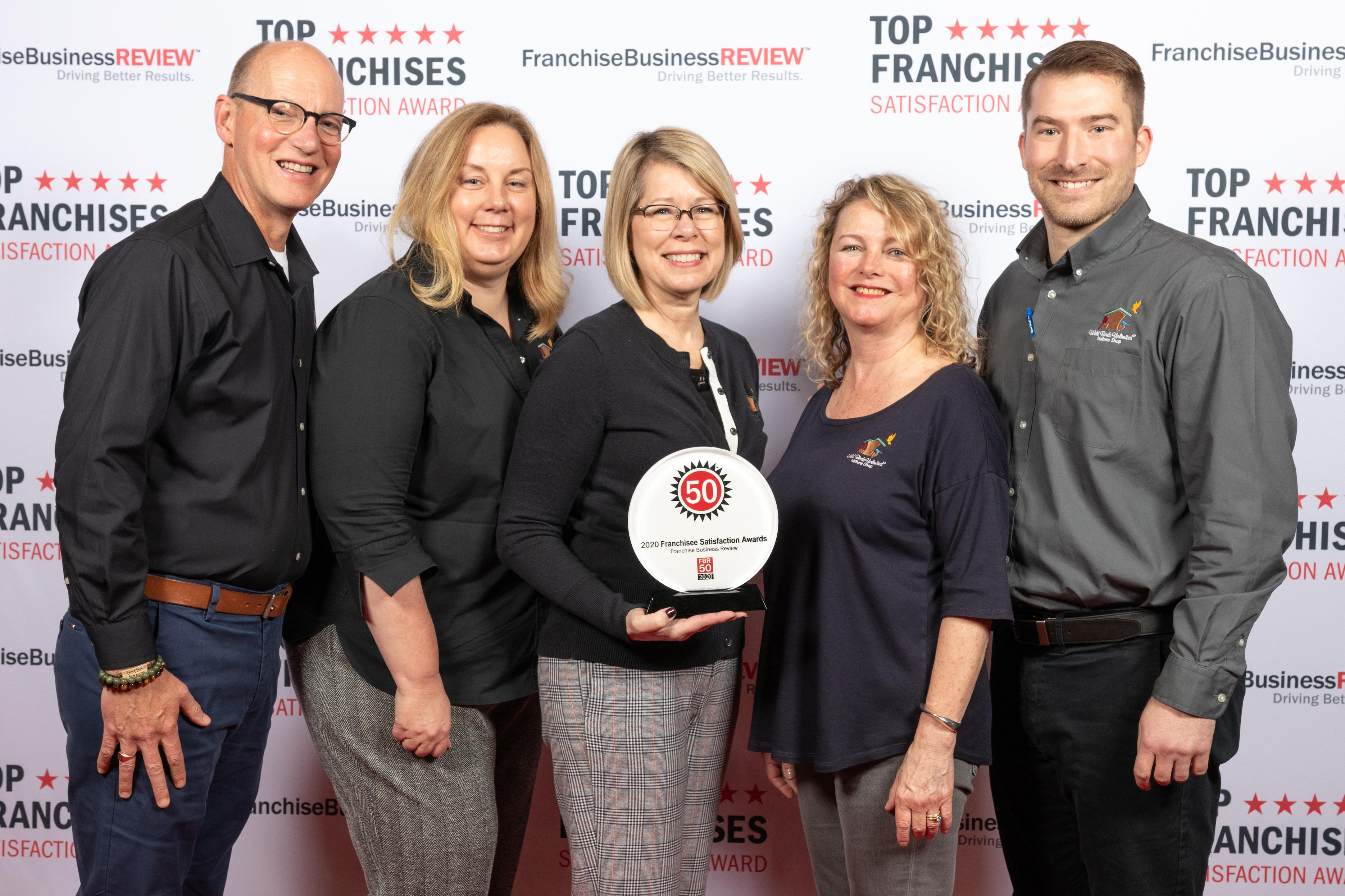 Wild Birds Unlimited team receiving 2020 Top Franchises Award