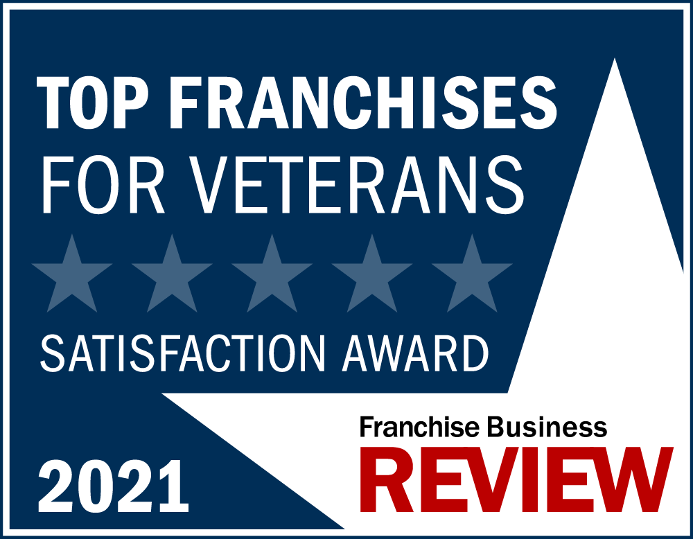Top Franchises for Veterans Franchise Satisfaction Award Graphic 2021 -blue