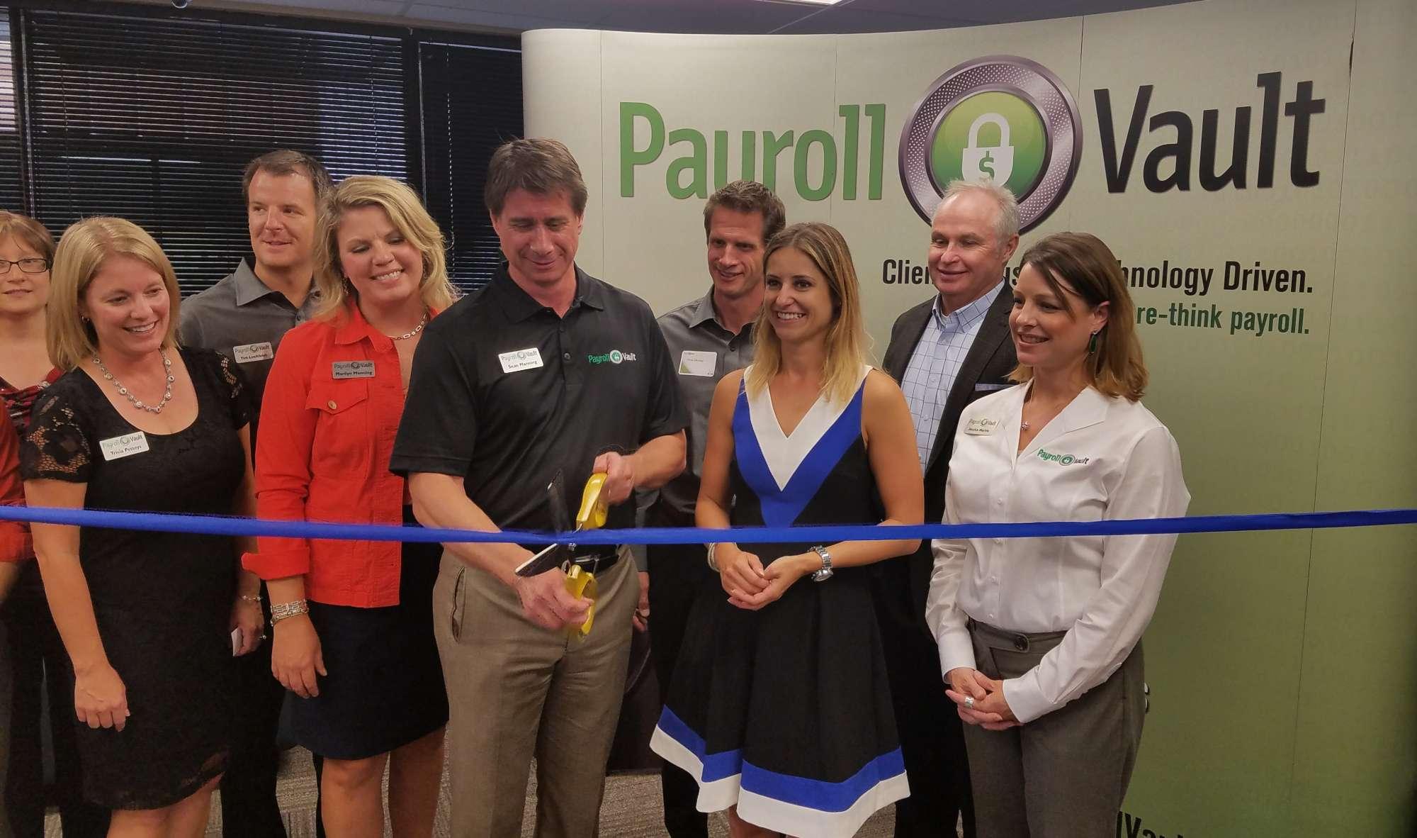 Sean Manning and Payroll Vault team at ribbon cutting